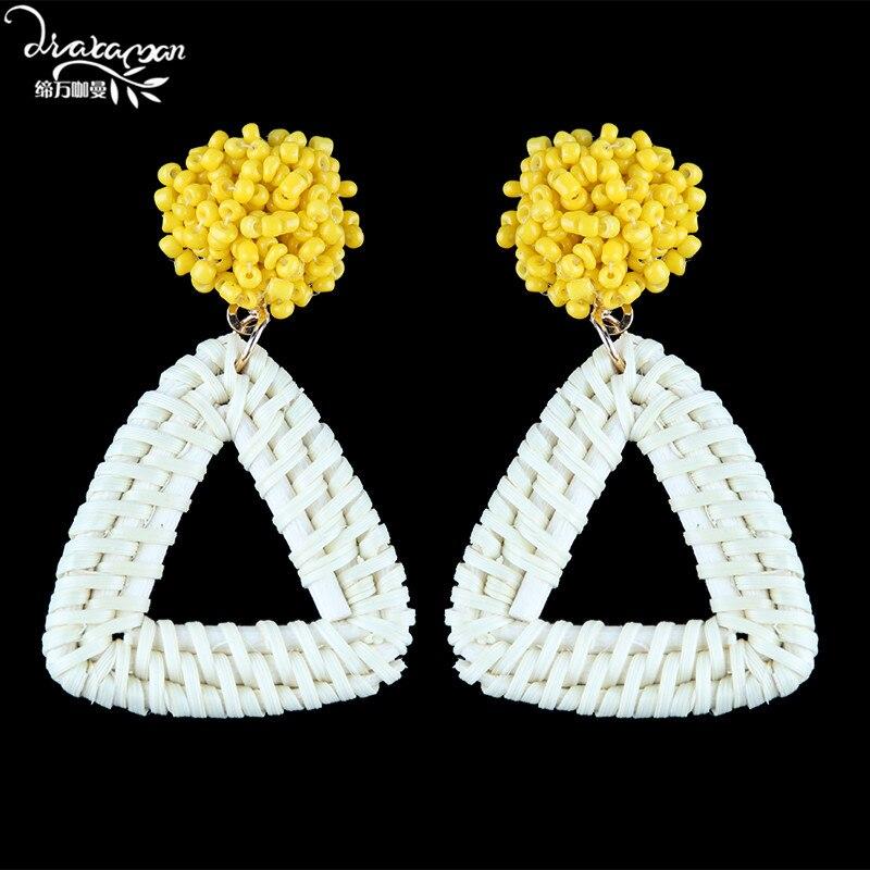 Dvacaman Crystal Flower Drop Earrings Women Boho Ethnic Bamboo Statement Earrings Handmade Rattan Knit Jewelry Accessory Wedding Drop Earrings