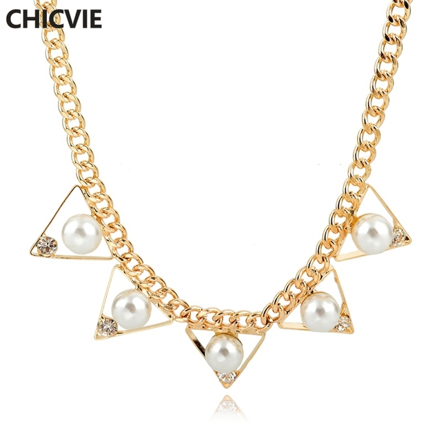 Chicvie vintage pearl necklace for women gold color necklaces chicvie vintage pearl necklace for women gold color necklaces pendants female ethnic wedding engagement mozeypictures Images