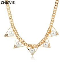 Женское винтажное жемчужное ожерелье chicvie золотое и кулоны