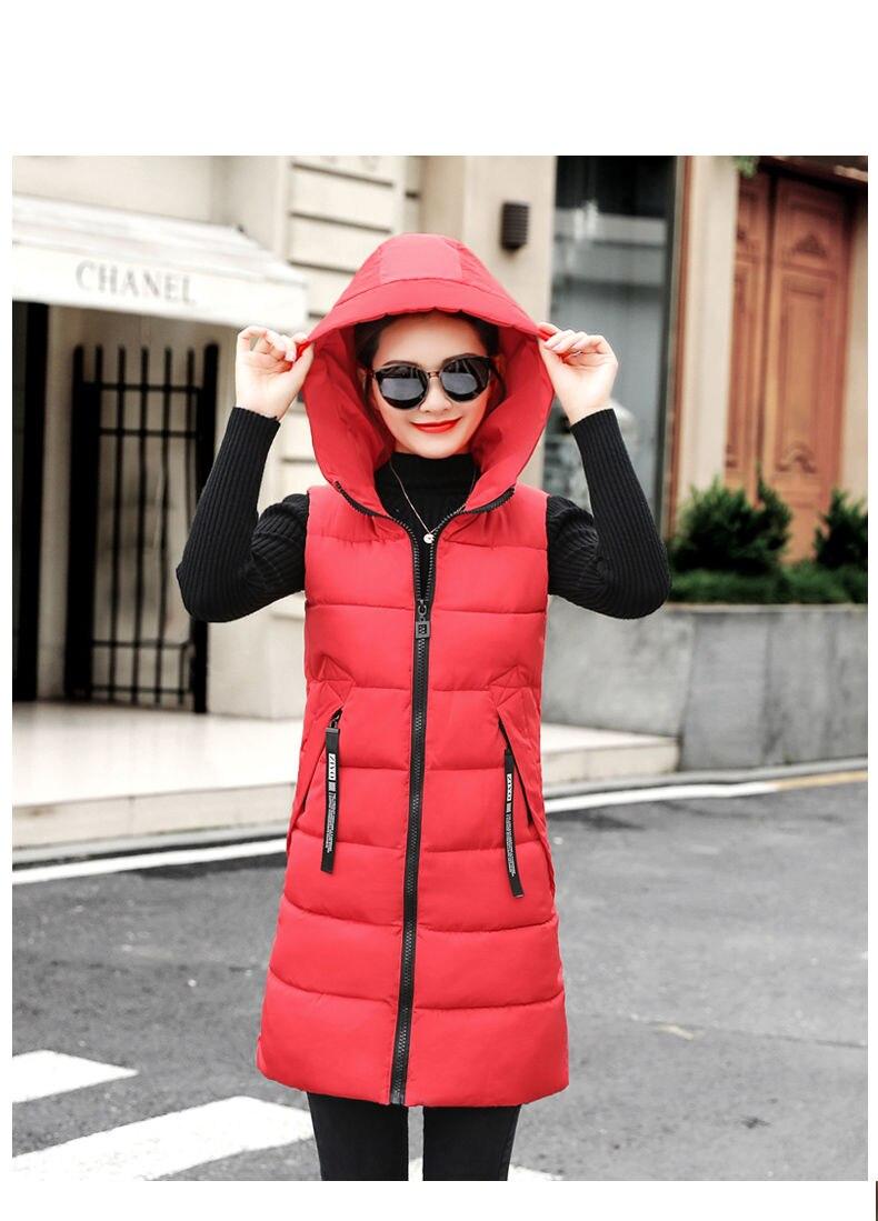 Autumn Winter Women Waistcoat Sleeveless Vest Jacket Hooded Warm Long 28