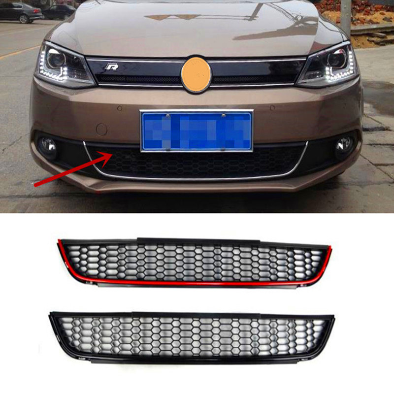 Front Bumper Lower Air Guide Vents Grille Car Spoiler For VW Jetta MK6 Grills 2011-2015 for 10 14 vw golf tdi jetta mk6 honeycomb mesh lower front grille grill abs usa domestic free shipping hot selling