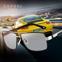 CAPONI Polarized Sun Glasses Men Day Driving Photochromic Square Sunglasses Vintage Fashion Metal Shades For Male UV400 CP031