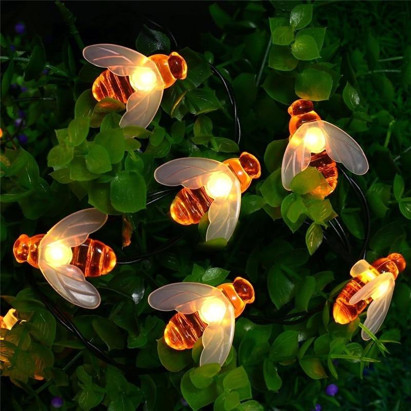 5M Solar Lights String 20Leds Honey Bee Shape Solar Powered Fairy Lights For Outdoor Garden Fence Decoration Tree Plants Lights