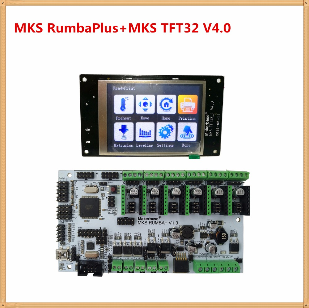 3D printer motherboard MKS RumbaPlus + MKS TFT32 v4.0 display LCD all in one board control card Rumba-board electronic diy kit