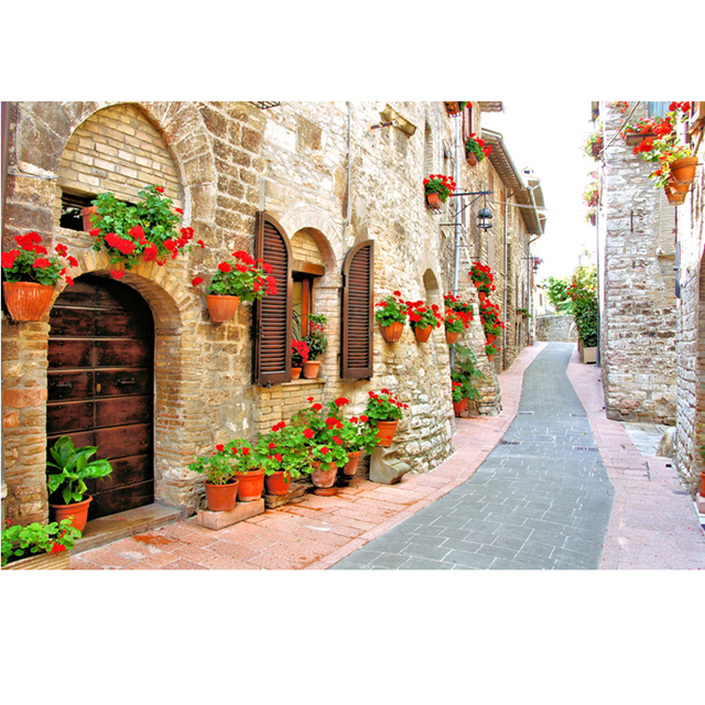 Mediterranean Street Style Self Adhesive Wallpaper Large Mural Background 3D Stereoscopic