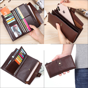 Image 5 - GENODERN Business Men Wallet Clutch Genuine Leather Organizer Purse Brand Male Money Bag Cell Phone Bag Long Zipper Clutches