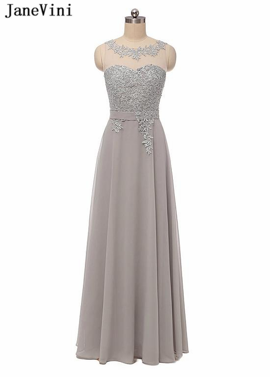 JaneVini Elegant Gray Plus Size Long   Bridesmaid     Dresses   Scoop Neck Appliques Backless Chiffon   Dress   Prom Party Gowns for Womens