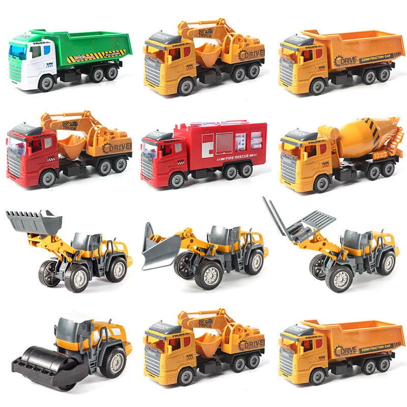 1:32 10Pcs/Set Pull Back Car Engineering Car Model Tractor Toy Dump Truck Model Classic Toy Vehicles Mini Gift For Boys  Jm268
