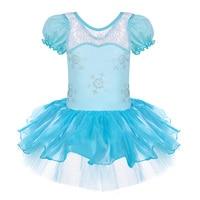 Fro Zen Elsa Short Sleeve Girls Leotard Clothing Ballet Tutu Skate Party Performance Elsa Costumes Tutu
