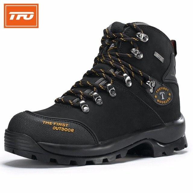 TFO Women Hiking Shoes Waterproof Boots Climbing Trekking Mountain Shoes Woman Winter Black Genuine Leather Women's Boot