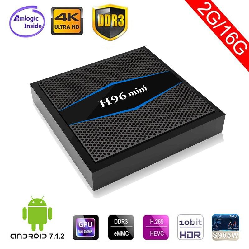 Android 7.1 TV Box H96mini Amlogic S905W Quad Core 2G/16G 3D 4K 1080P Full HD 2.4G/5G Dual Band Media Player 64 bit Smart tv box procaja s905 android 7 1 tv box 1gb 8gb amlogic s905w 64 bit quad core uhd 4k media player miracast dlna smart tv box