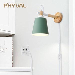 Image 2 - Lâmpada de parede de madeira nordic linha luz cabo com botão interruptor dimmer lâmpadas parede para o quarto sala jantar incandescente luzes parede