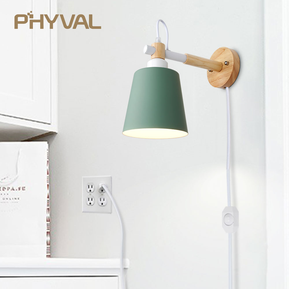 Wood Wall Lamp Nordic Wall Light Line Cable With Knob Switch Dimmer Wall Lamps For Bedroom Dining Room Incandescent Wall Lights