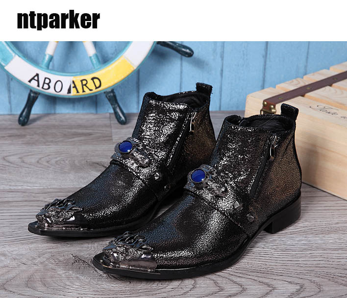 ntparker 2018 100% Brand New Pointed Metal Toe Black Men Boot Western Ankle Boots Black for Man, big size US6-12