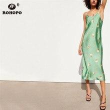 ROHOPO EU Size Women Spaghetti Strap Floral Midi Dress Summer Casual Beach Style Mid Calf Flared Vestido #UK9139