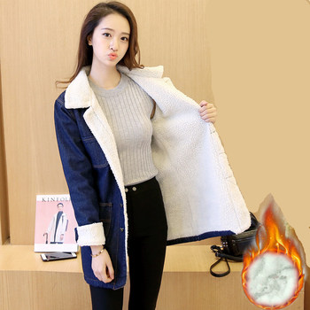 Han edition 2017 fashion women tops Denim fabrics of high thermal lambs wool  women coat Long sleeve nirvana trench coat xf010 4