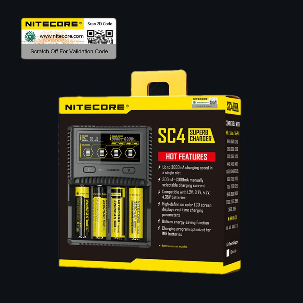 цена на NITECORE SC4 Intelligent Faster Charging Superb Charger with 4 Slots 6A Total Output Compatible IMR 18650 14450 16340 AA Battery