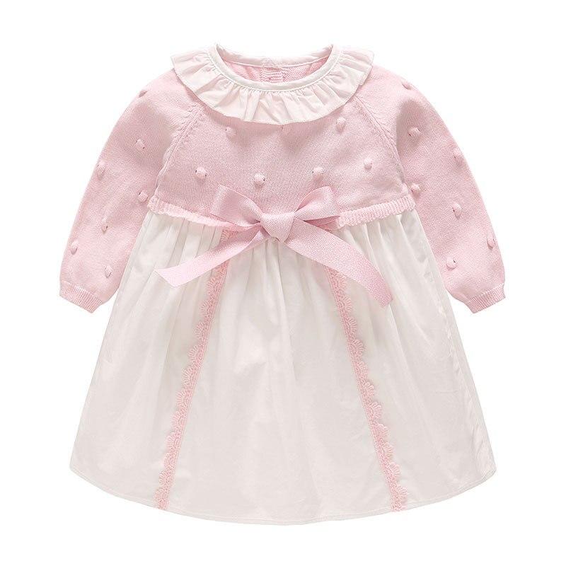 Vlinder Spring Autumn Newborn Baby Girls Sweater Princess Dress Infant Knitted Dress Kids Little Girl Bow Dress