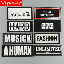 VIPOINT embroidery printed warning patches letter alphabet badges applique for clothing YM-27