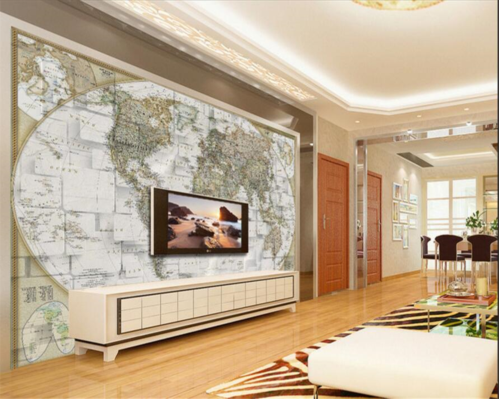beibehang Custom advanced aesthetic office wallpaper three-dimensional murals maps television background 3d wallpaper tapety