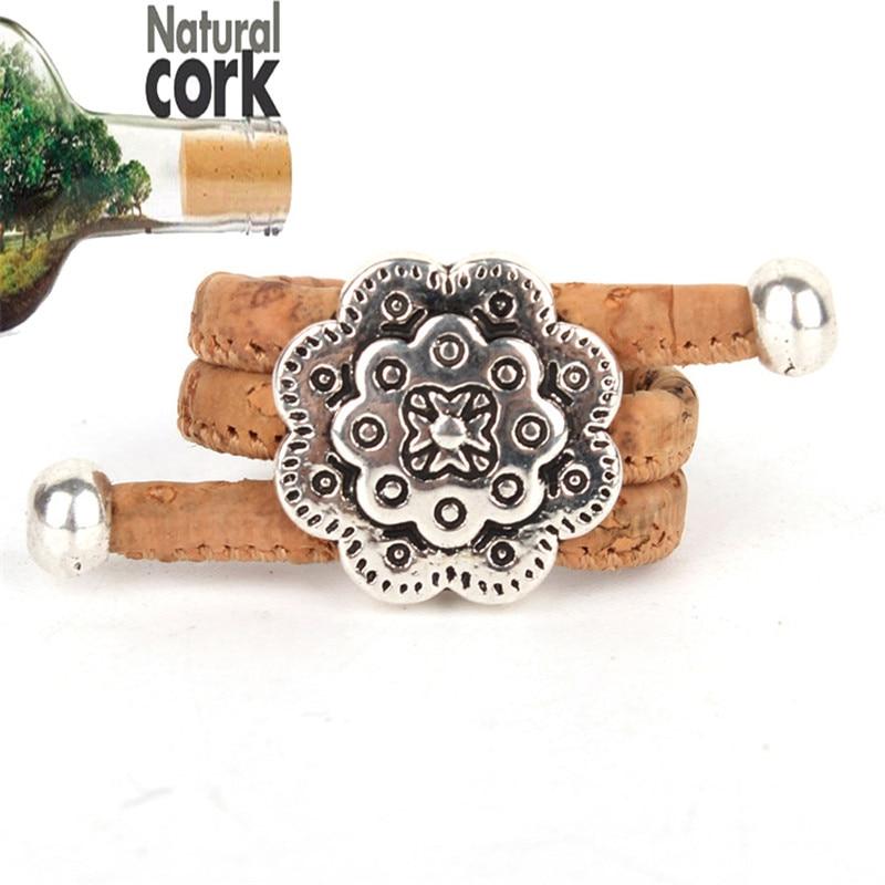 corcho corcho natural mujeres de la antigedad de la astilla de la vendimia anillo ajustable originales de madera hechos a mano