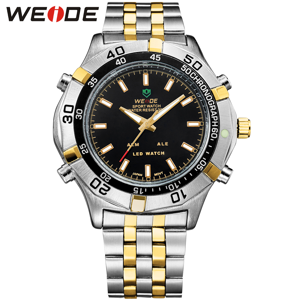 WEIDE Luxury 2/Tone Gold Stainless Steel Watch Men Analog LED Digital Dual Time Auto Date Alarm Display Fashion Casual Clock weide casual luxury genuin new watch men quartz digital date alarm waterproof clock relojes double display multiple time zone