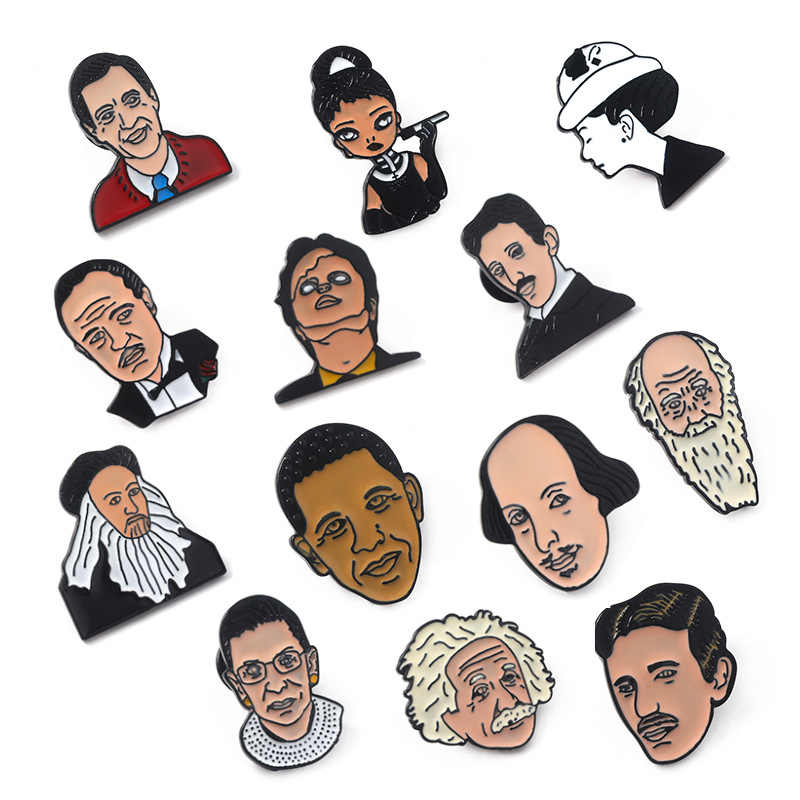 13 Pin Cartoon Obama Einstein Character Brooches for Women Great Man Famous People Jewelry Enamel Pin Badge Backpack Accessories