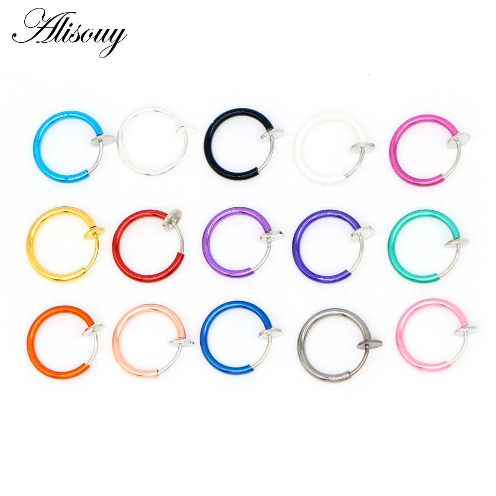 Alisouy 2 יחידות טבעות חישוק האף נחירי רפואי טיטניום רב צבע קליפ על גוף נזם באף מזויף פירסינג גוף גברים נשים תכשיטי