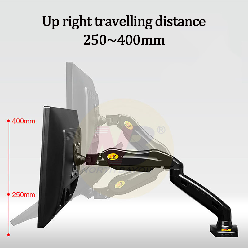 Image 3 - 17'' 27'' Desktop LED Monitor Holder NB F80 Computer Screen Monitor Mount Stand Full Motion Swivel Arm Gas Spring 4.4 14.3lbs-in TV Mount from Consumer Electronics