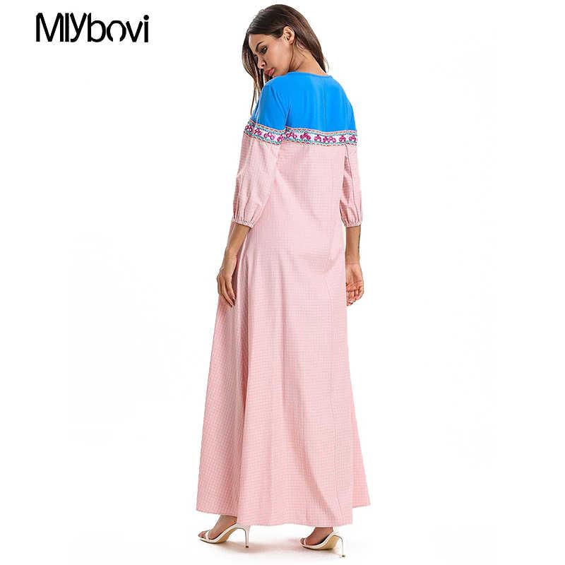 Для женщин розового цвета в клетку, мусульманское платье 2019 женский Дубай Абая, для мусульман платье с вышивкой, накидка, Восточный халат Абаи длинные элегантные Платья для вечеринок при помощи обратного осмоса