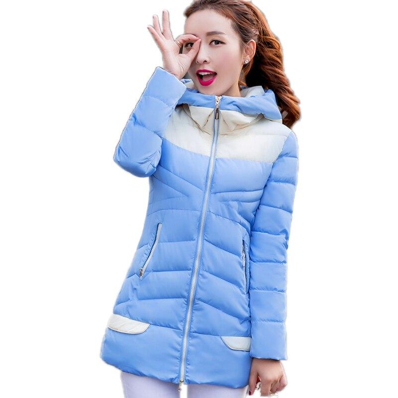 Moda Yeni 2016 Pamuk Coat Parka İnce Dikiş Renk Kapüşonlu Fermuar Kış Ceket Kadın Rahat Artı Boyutu Uzun Coat Kadınlar