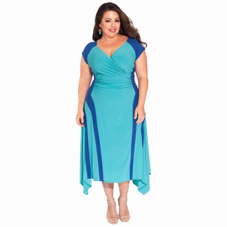 New Arrivals Overweight Women Dress V Neck Patchwork ...