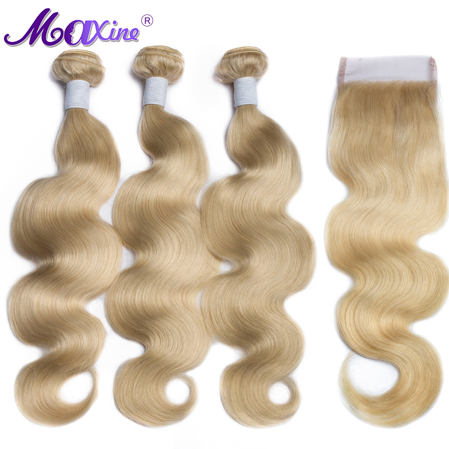 613 Blond Body Wave Bundles With Closure Remy Brazilian Hair Weave Bundles 3 Human Hair Bundles