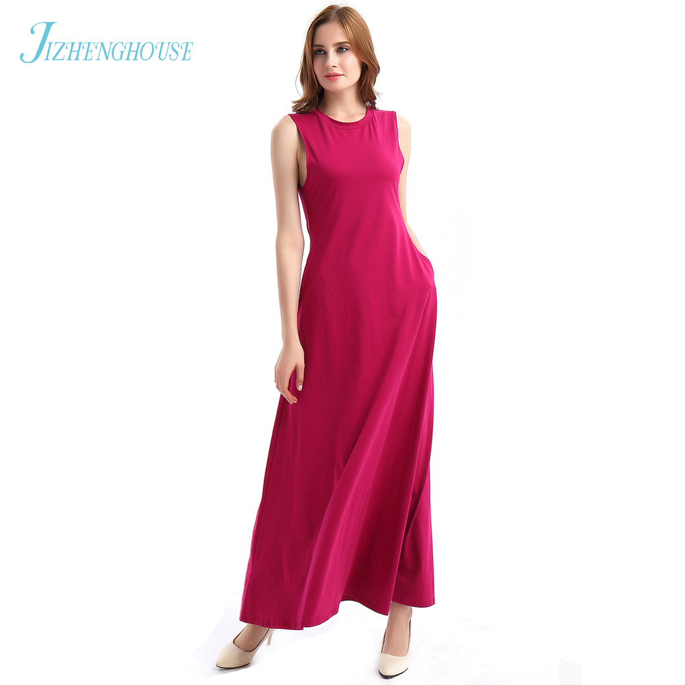 JIZHENGHOUSE Free Shipping Europe Style Elegant Women Dress 3 Solid color Sleeveless Summer Dress Sexy O Neck Casual Party Dress