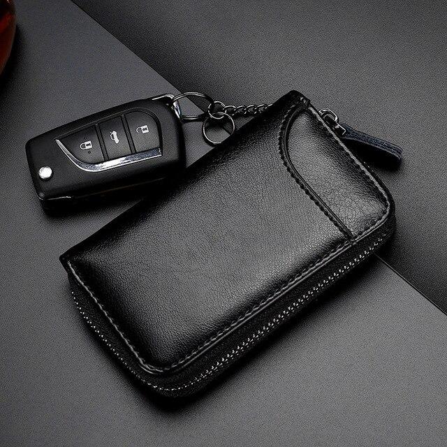 Genuine Leather KeyChain Unisex Key Bag Multifunction Organizer Wallet Holder Smart Housekeeper Car Small Key Case Keys Pouch 4