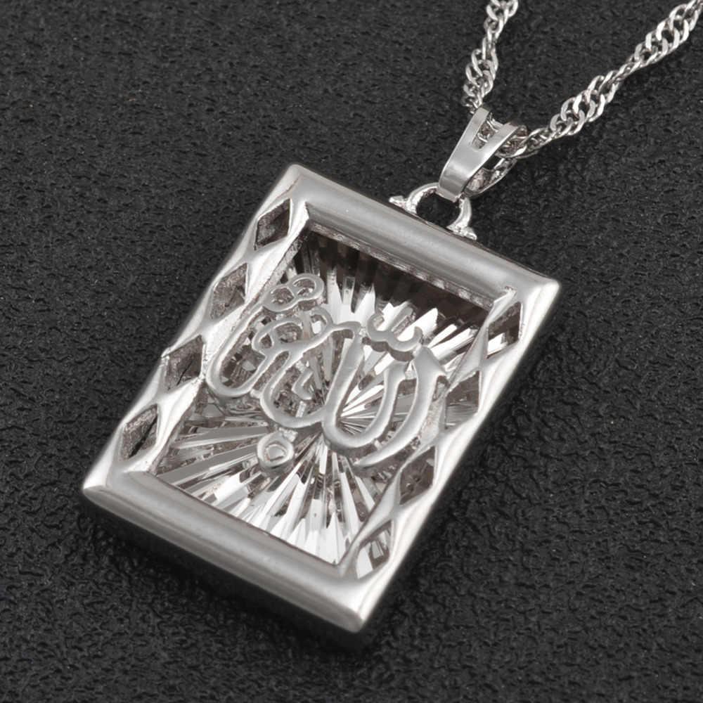 Anniyo srebrny kolor Allah naszyjnik Muhammad muzułmański islamski arabski biżuteria dla kobiet mężczyzn prorok bliski wschód styl #200204