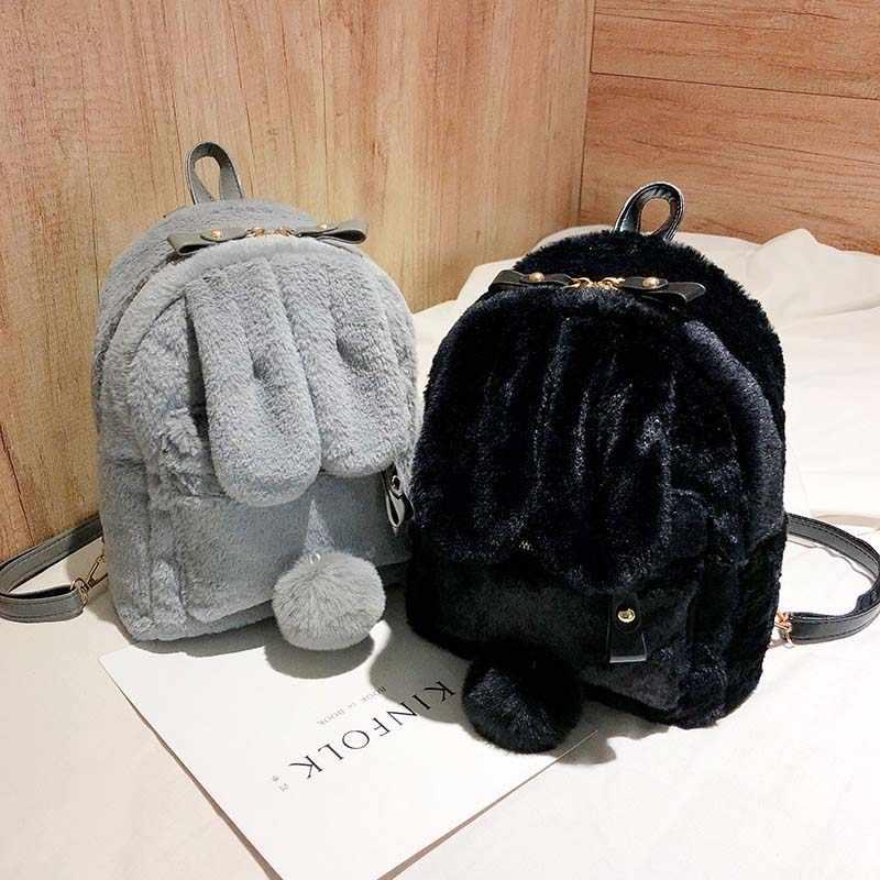 ... Cute Faux Fur Mini Backpack Rabbit Ear Women Travel Shoulder Bags  Fashion Plush Bagpack Rucksack School ... 1a79bf415554c