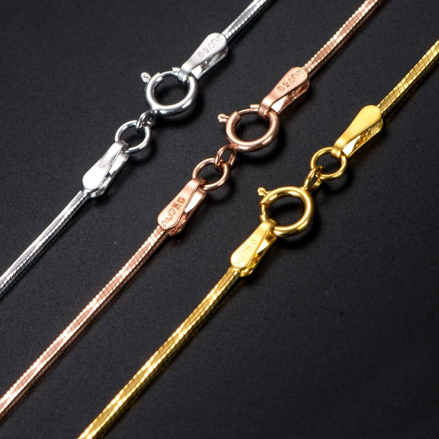 17 дюймов чистое золото ожерелье цепочка змеиная кожа женщины AU750 Золотое ожерелье