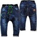 4015 calças harém calças de brim macias do bebê calças do bebê calças de brim menino calças de brim infantis calças primavera outono crianças moda agradável marinha azul