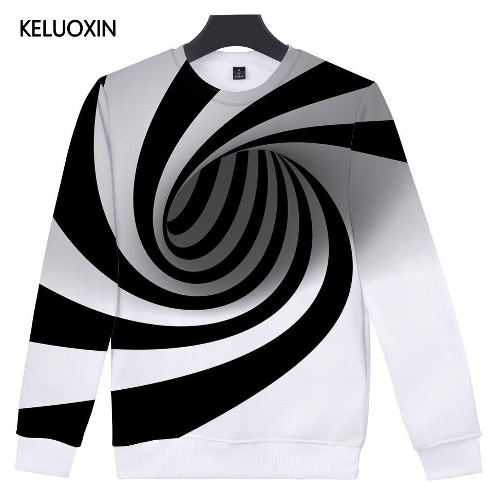 KELUOXIN Fashion Hoodies 3D Black And White Vertigo Hypnotic Hip Hop Streetwear Sweatshirt Men Women Funny 3D Sudadera Hombre