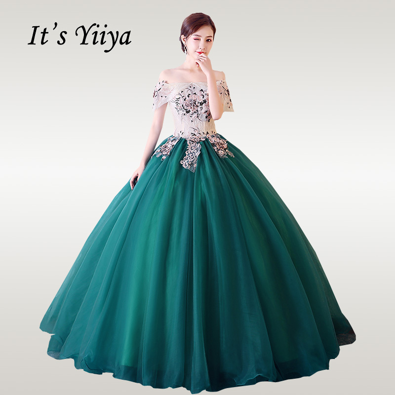 It's YiiYa Wedding Dress Embroidery Boat Neck Floor Length Green Wedding Dresses Off Shoulder Lace Vestido De Novia CH006