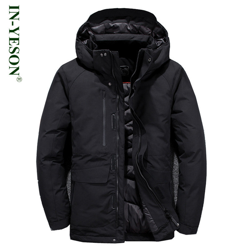 IN-YESON брендовая зимняя куртка Для мужчин капюшон Съемная Повседневное ветрозащитная теплая куртка-пуховик белого цвета на утином пуху высо...