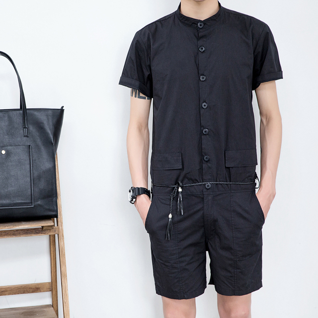 0b35cfaecaa Summer men s new stand collar short-sleeve shirt slim jumpsuit one piece  jumpsuit overalls teenage handsome uniform pants
