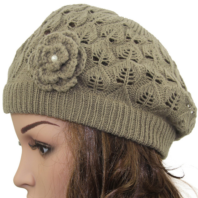 2016 Women s Super Soft Flower Laciness Light Weight Knit Beanie Hat Summer  hats Fashion Cap 2361428aba0