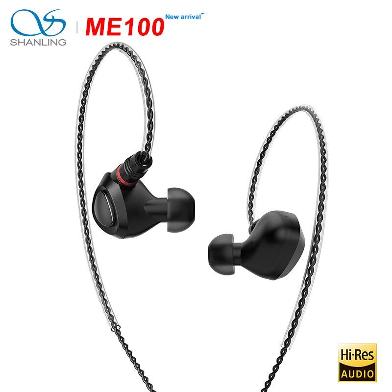 SHANLING ME100 10 мм ПЭ PEEK динамический высокого разрешения Hi Fi внутриканальный монитор наушники All Алюминий конструкция с кабель OFC разъем MMCX