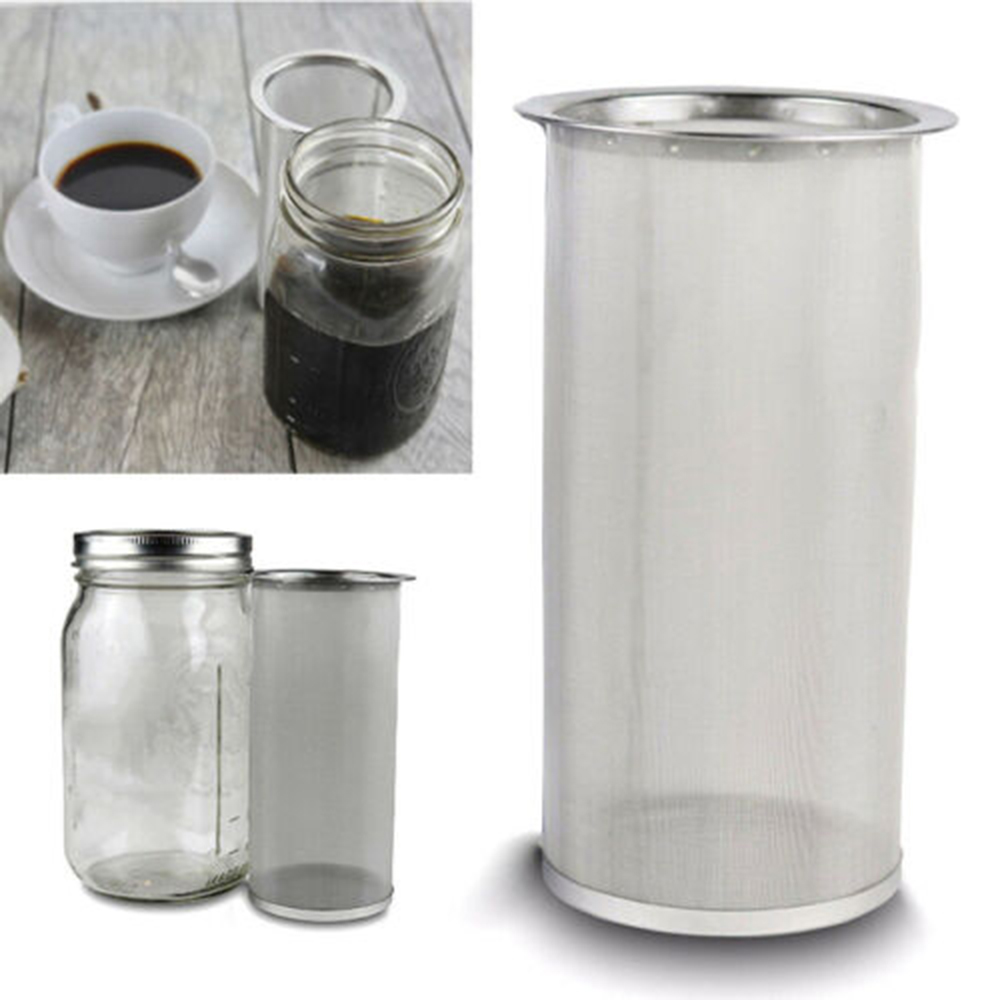 Useful 1pc Unique Stainless Steel Mason Jar Cold Brew Coffee Maker And Iced Tea Infuser Loose Leaf Tea Mesh Filter Strainer
