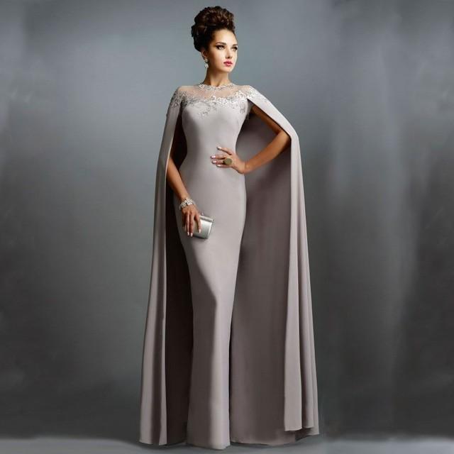 Chiffon Sheer Ilusão Decote Mãe Dos Vestidos de Noiva Com Capa Cinza Senhoras Caftan Muçulmano Árabe Sereia Vestido de Festa