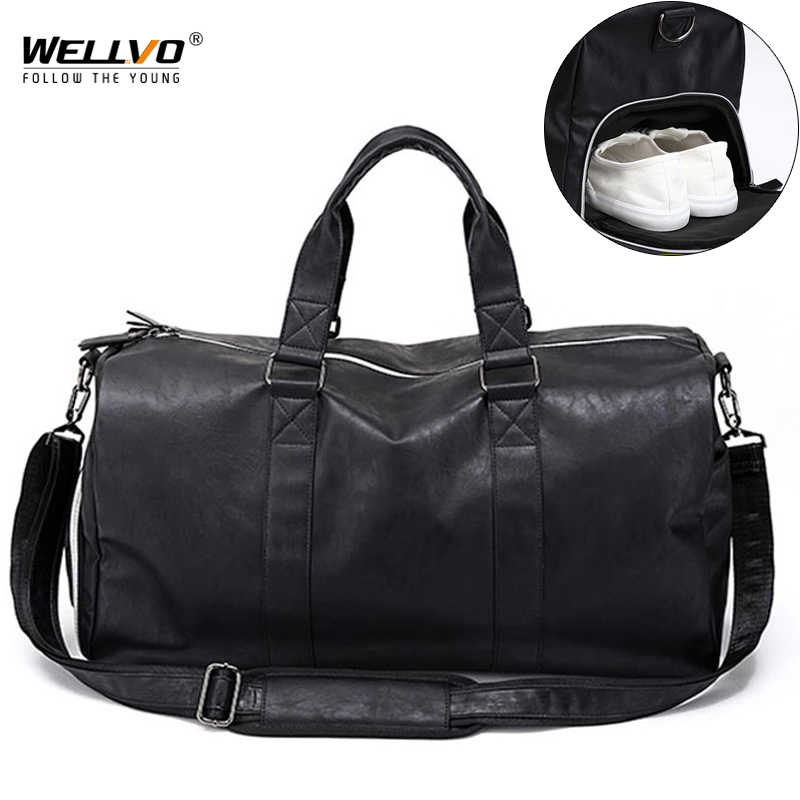 929f150bd3 Male Leather Travel Bag Large Duffle Independent Shoes Storage Big Fitness Bags  Handbag Bag Luggage Shoulder