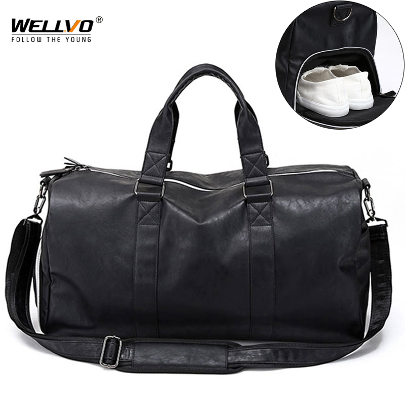 Male Leather Travel Bag Large Duffle Independent Shoes Storage Big Fitness