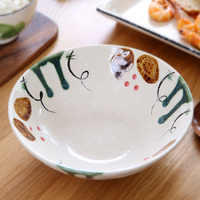 brand high quality ceramic tableware 8 inch plant printed under glazed porcelain bowls soup Japan style food container home bowl